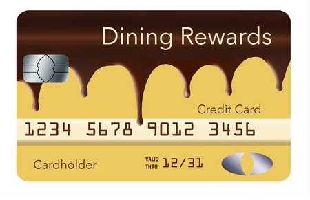 A credit card that offers cash back rewards for dining out is designed to look like Boston cream pie covered in flowing chocolate. This is an illustration.