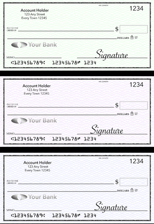 Blank generic bank checks, three of them in different colors are isolated on the background. This is an illustration. Stock Illustration - 115678527