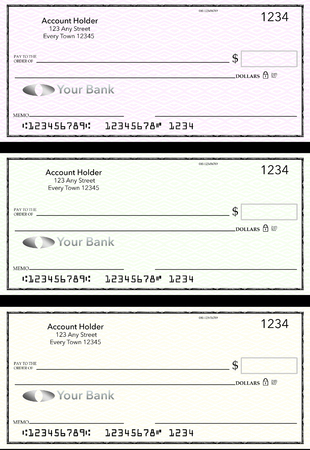 Blank generic bank checks, three of them in different colors are isolated on the background. This is an illustration. Stock Illustration - 115678529