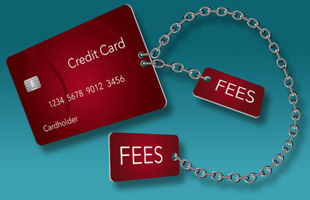 Credit cards usually come with some fees attached. Here is an image where those fees are chained to the credit card. Text area included. This is an illustration.