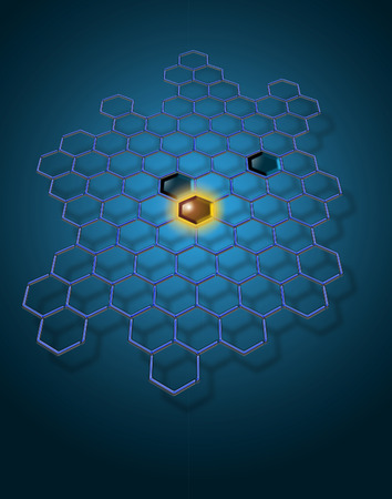 A bright idea in electronic is the theme of this image. Hexagons are a basis of this modern, electronic inspired abstract background image. This is an illustration. Фото со стока