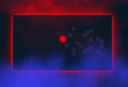 Hexagons are a basis of this modern, electronic inspired abstract background image. This is an illustration.