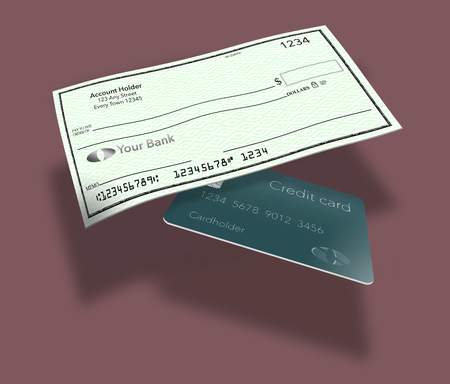 Personal bank checks from an individual checking account is pictured here. This is an illustration. Stock Illustration - 116278986