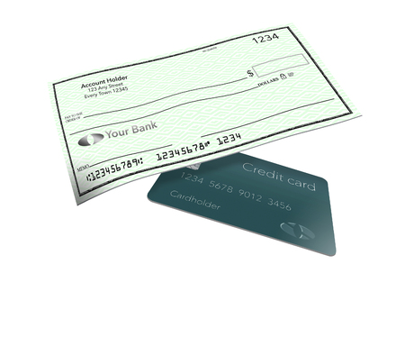 Personal bank checks from an individual checking account is pictured here. This is an illustration. Stock Illustration - 116278993