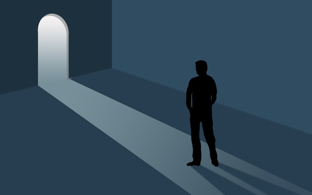 Opportunity is beckoning. A door is open and inviting as a person considers the situation. Light steams into a room where the person is seen in silhouette. This is an illustration. Banco de Imagens