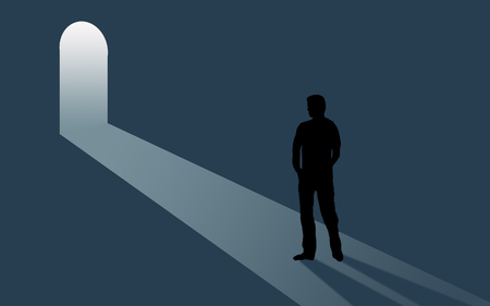 Opportunity is beckoning. A door is open and inviting as a person considers the situation. Light steams into a room where the person is seen in silhouette. This is an illustration. Stockfoto - 116279044