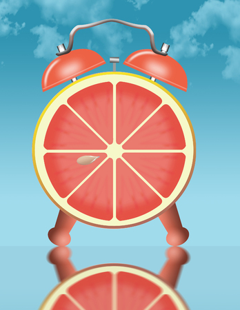 Eating citrus fruit for breakfast is illustrated with a slice of grapefruit pictured as the face of an alarm clock. This is an illustration. Stok Fotoğraf