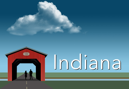 Indiana is featured in this rural themed poster. A red covered bridge, blue sky, a stream and flat grassland are the background for a young couple together inside the bridge. This is an illustration.