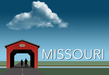 Missouri is featured in this rural themed poster. A red covered bridge, blue sky, a stream and flat grassland are the background for a young couple together inside the bridge. This is an illustration.