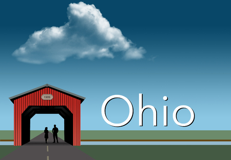 Ohio is featured in this rural themed poster. A red covered bridge, blue sky, a stream and flat grassland are the background for a young couple together inside the bridge. This is an illustration. Imagens