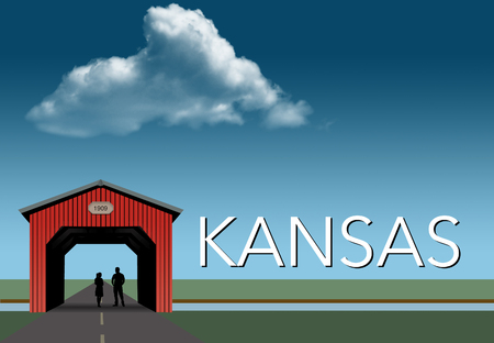 Kansas is featured in this rural themed poster. A red covered bridge, blue sky, a stream and flat grassland are the background for a young couple together inside the bridge. This is an illustration.