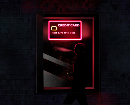 A neon sign that looks like a credit card is in the window at night as shady characters hang out nearby. Theme: Be careful when shopping for a new credit card. This is an illustration. 스톡 콘텐츠
