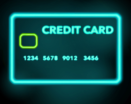 A neon sign that looks like a credit card is seen in this illustration about shopping for credit cards. This is an illustration.