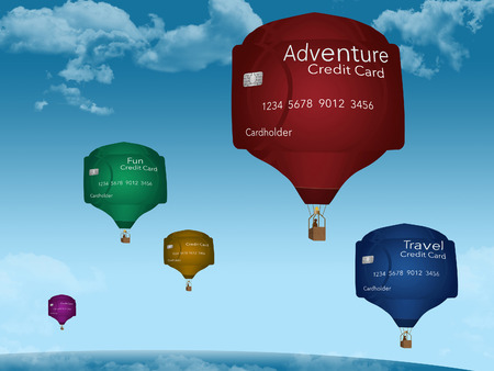 Hot air balloons that look like credit cards illustrate using cards for vacation, fun, travel and adventure. This is an illustration. 写真素材