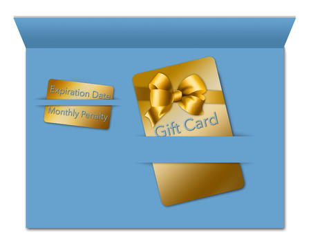 Gift cards come with terms and conditions and that is the theme of this image. A gift card is seen next to a smaller card that notes some of the fees and deadlines for using the card.  This is an illustration.