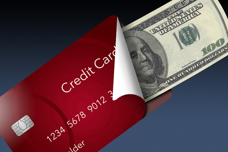 A credit card is peeled back to reveal a one hundred dollar bill inside. This illustrates carrying a card instead of cash or any other discussion of card vs. cash.  This is an illustration.
