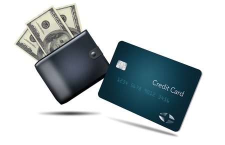 Forms of payment that you can carry with you while shopping are the subject of this image. Those forms of payment include: cash, credit, debit, coin, check and cell phone tap to pay.  This is an illustration.