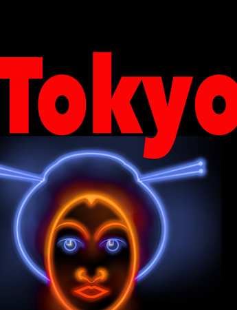 A neon sign points the way to Tokyo and the face of a geisha decorates the sign. The word Tokyo appears in both English and Japanese. This is an illustration.