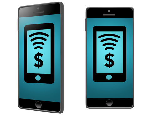 GRAPHIC RESOURCE-Generic, mock cell phones have an image of a dollar sign and a NFC signal for a wireless payment by phone. This is an illustration Imagens