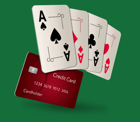 Playing cards, all aces, appear with a credit card in this image. This is an illustration Foto de archivo - 116998094