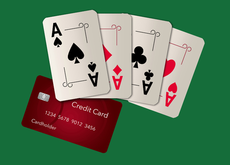Playing cards, all aces, appear with a credit card in this image. This is an illustration Stok Fotoğraf