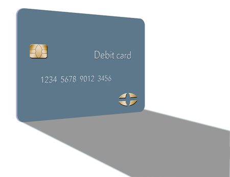 A debit card casts a shadow in this minimalist image with limited color mixed with grey, blacks and whites. This is an illustration Фото со стока