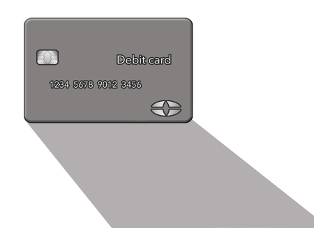 A debit card casts a shadow in this minimalist image with limited color mixed with grey, blacks and whites. This is an illustration Stok Fotoğraf