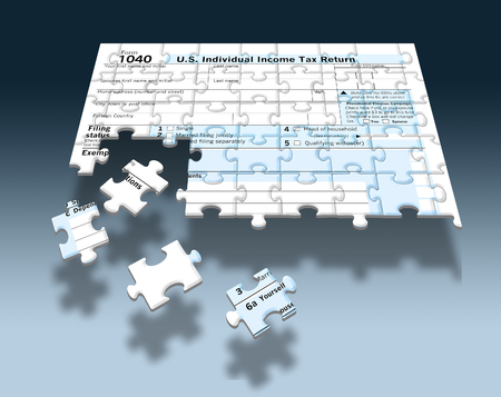 A U.S. Federal 1040 income tax form is seen as a jigsaw puzzle with pieces out of place in this image. This supports the theme of the annual task of piecing together financial information to complete tax filing. This is an illustration Stok Fotoğraf