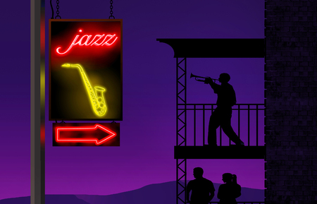 A trump player practices on his balcony while a neon sign directs music lovers to a jazz club. This is an illustration.
