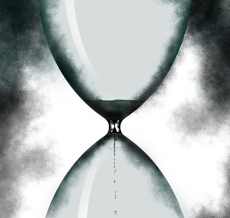 Time is running out. An hourglass is pictured in this image with room inside the hourglass for text or art. This is an illustration. Stok Fotoğraf