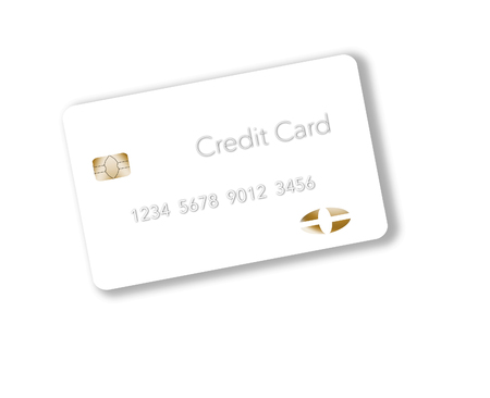 For a unique look, a white credit card is seen on a light background.  This is an illustration.