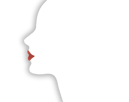 Lipstick if the theme of this illustration of a girls face emphasizing the lips. This is an illustration.
