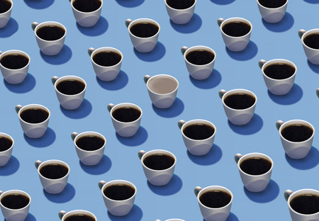 Standing out in a crowd is the theme of this image where identical cups of coffee are in rows but one cup is different from the others. Different, color, spilled, etc. This is an illustration.