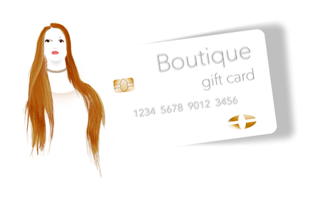 A young woman with red hair wears a pearl necklace purchased at a boutique and is seen next to a boutique shops gift card. This is an illustration. Stok Fotoğraf