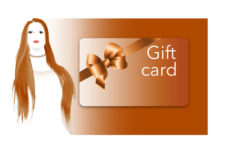 A young woman with red hair is seen next to a prepaid  gift card. This is an illustration.