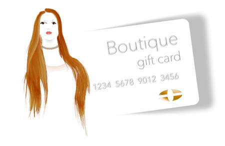 A young woman with red hair wears a pearl necklace purchased at a boutique and is seen next to a boutique shops gift card. This is an illustration. Фото со стока