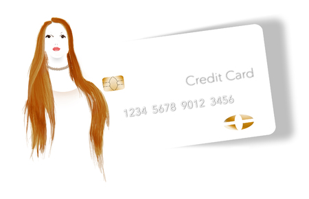 A young woman with red hair is seen next her credit card.  Isolated on white background. This is an illustration.
