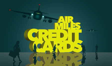 Air rewards, air miles reward credit cards are the subject. The words air miles credit cards is surrounded by business travelers and airplanes. This is an illustration Stock Photo