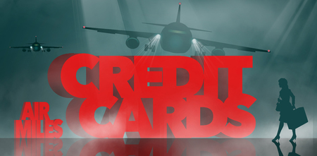 Air rewards, air miles reward credit cards are the subject. The words air miles credit cards is surrounded by business travelers and airplanes. This is an illustration Фото со стока - 117727271