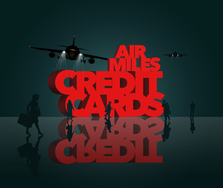 Air rewards, air miles reward credit cards are the subject. The words air miles credit cards is surrounded by business travelers and airplanes. This is an illustration Stock fotó