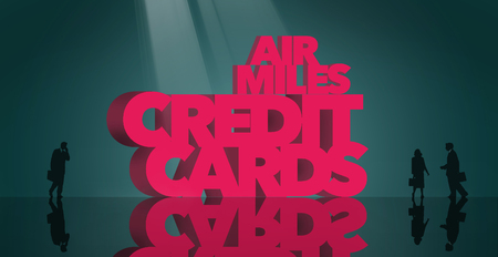 Air rewards, air miles reward credit cards are the subject. The words air miles credit cards is surrounded by business travelers and airplanes. This is an illustration Фото со стока - 117727282