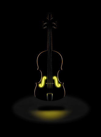The golden tones of a classic violin is expressed with a glowing golden light from within in this dramatic image. This is an illustration Фото со стока - 117727285