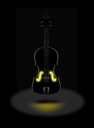 The golden tones of a classic violin is expressed with a glowing golden light from within in this dramatic image. This is an illustration Фото со стока - 117727287