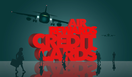Air rewards, air miles reward credit cards are the subject. The words air miles credit cards is surrounded by business travelers and airplanes. This is an illustration Фото со стока - 117727291