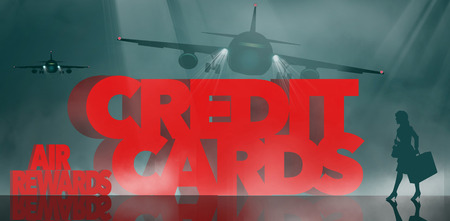 Air rewards, air miles reward credit cards are the subject. The words air miles credit cards is surrounded by business travelers and airplanes. This is an illustration Stok Fotoğraf