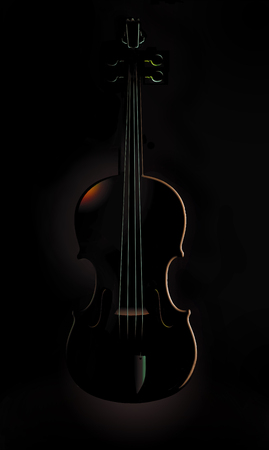 A violin is seen in striking and unusual lighting in this image. This is an illustration. Stok Fotoğraf