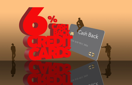 Cash back reward credit cards is the subject of this image of giant letters and little people in a public place. This is an illustration.