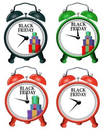 Four versions of an alarm clock to alert you to the beginning of Black Friday shopping is seen here. This is an illustration. Фото со стока - 132657579