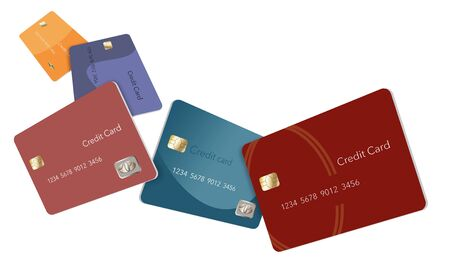 Five credit cards in various colors float through the air in this image. This is an illustration. Фото со стока - 132657580