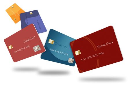 Five credit cards in various colors float through the air in this image. This is an illustration.